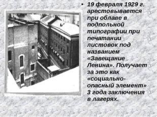 19 февраля 1929 г. арестовывается при облаве в подпольной типографии при печа