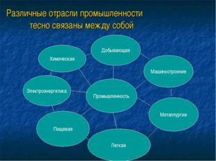 Различные отрасли промышленности тесно связаны между собой Химическая Пищевая