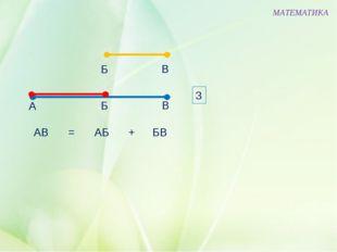 В Б МАТЕМАТИКА А Б В АВ АБ БВ = + 3