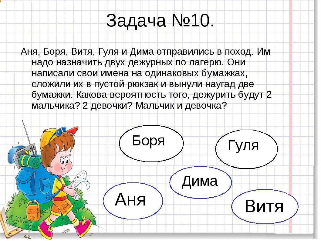 Задача №10. Аня, Боря, Витя, Гуля и Дима отправились в поход. Им надо назначи...