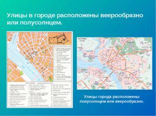 Улицы в городе расположены веерообразно или полусолнцем. Улицы города располо