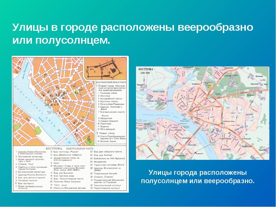 Улицы в городе расположены веерообразно или полусолнцем. Улицы города располо...