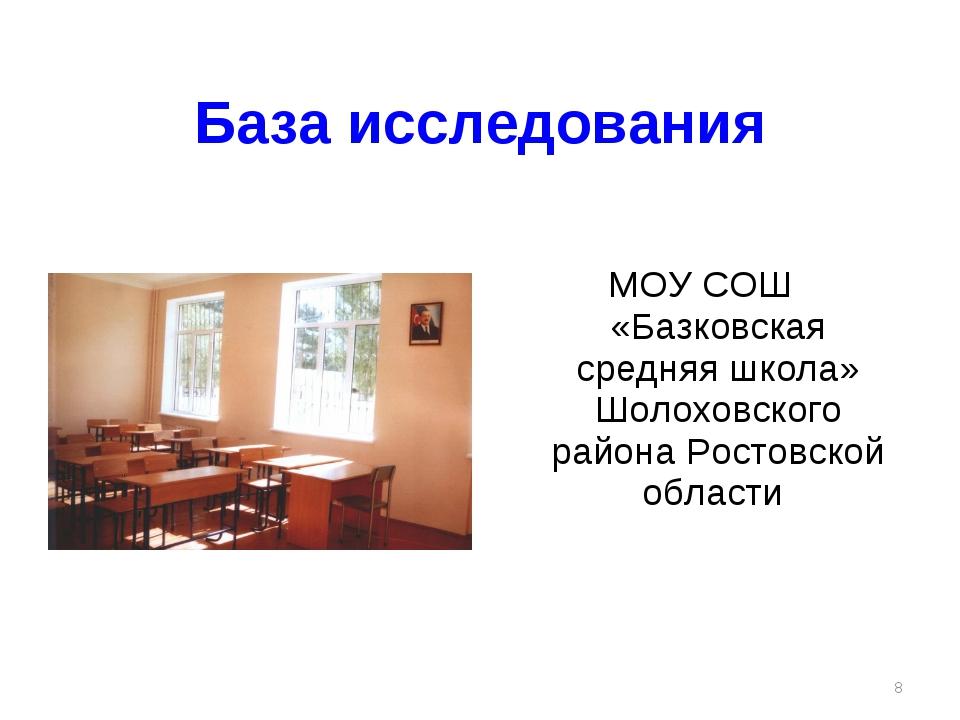 База исследования МОУ СОШ «Базковская средняя школа» Шолоховского района Рост...