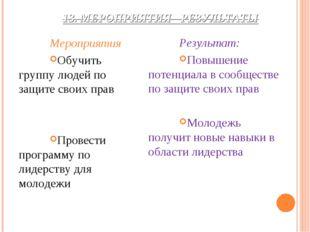13. МЕРОПРИЯТИЯ - РЕЗУЛЬТАТЫ Мероприятия Обучить группу людей по защите своих