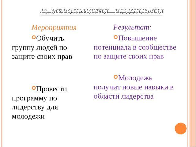 13. МЕРОПРИЯТИЯ - РЕЗУЛЬТАТЫ Мероприятия Обучить группу людей по защите своих...