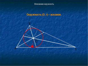 Вписанная окружность Окружность (О, r) – искомая. r