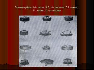 Головные уборы: 1-4 - торцог; 5, 6, 10 - хаджилга; 7- 9 - тамша; 11 - халмаг;