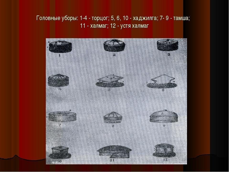 Головные уборы: 1-4 - торцог; 5, 6, 10 - хаджилга; 7- 9 - тамша; 11 - халмаг;...