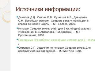Источники информации: Данилов Д.Д., Сизова Е.В., Кузнецов А.В., Давыдова С.М.