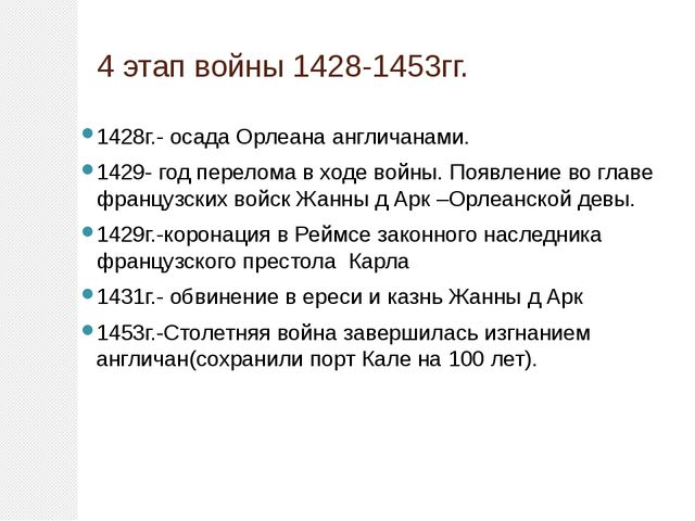 4 этап войны 1428-1453гг. 1428г.- осада Орлеана англичанами. 1429- год перело...
