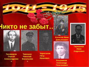 Никто не забыт… Тихомиров Сергей Александрович Тимошин Николай Васильевич Вах