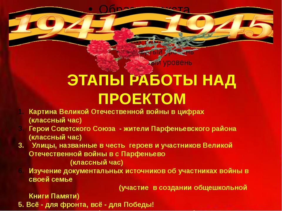 ЭТАПЫ РАБОТЫ НАД ПРОЕКТОМ Картина Великой Отечественной войны в цифрах (клас...