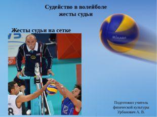Судейство в волейболе жесты судьи Жесты судьи на сетке Подготовил учитель физ