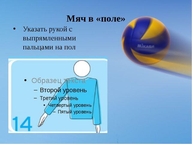 Мяч в «поле» Указать рукой с выпрямленными пальцами на пол