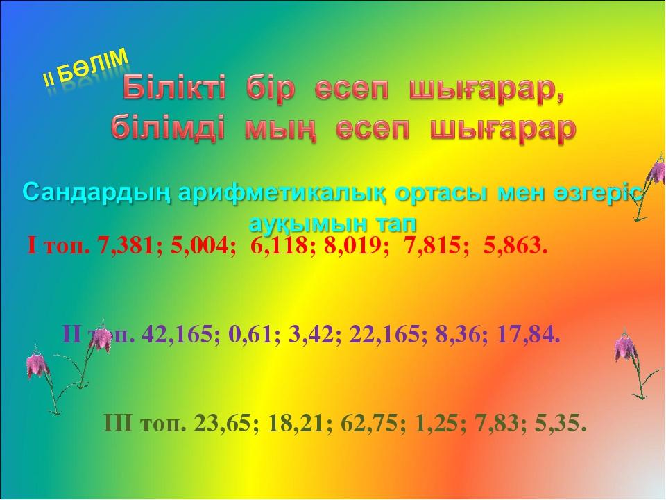 І топ. 7,381; 5,004; 6,118; 8,019; 7,815; 5,863. ІІ топ. 42,165; 0,61; 3,42;...