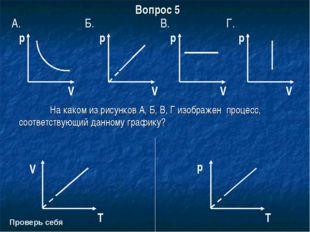 Вопрос 5 В. p На каком из рисунков А, Б, В, Г изображен процесс, соответству