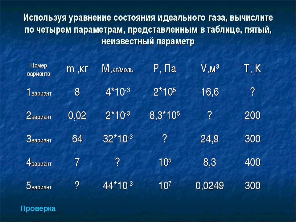 Используя уравнение состояния идеального газа, вычислите по четырем параметра...