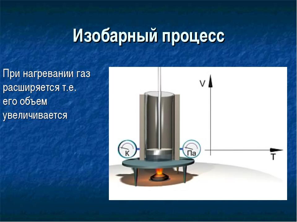 Изобарный процесс При нагревании газ расширяется т.е. его объем увеличивается