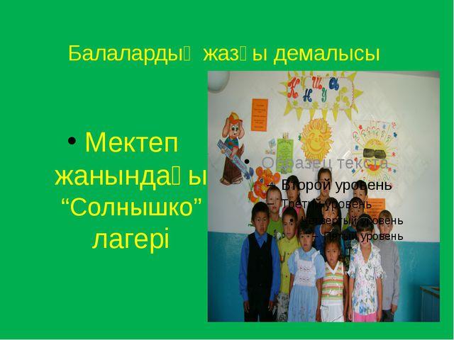"""Балалардың жазғы демалысы Мектеп жанындағы """"Солнышко"""" лагері"""