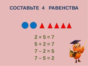 СОСТАВЬТЕ 4 РАВЕНСТВА 2 + 5 = 7 5 + 2 = 7 7 – 2 = 5 7 – 5 = 2