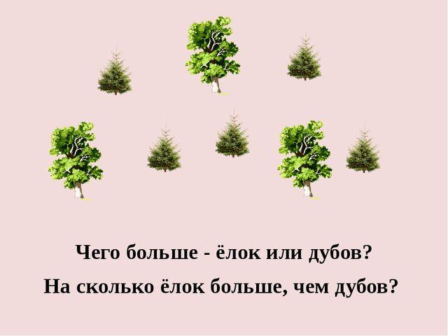 Чего больше - ёлок или дубов? На сколько ёлок больше, чем дубов?
