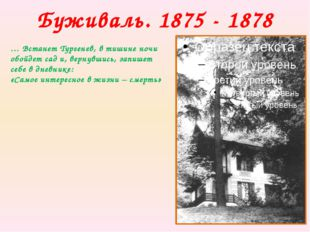 Буживаль. 1875 - 1878 … Встанет Тургенев, в тишине ночи обойдет сад и, вернув
