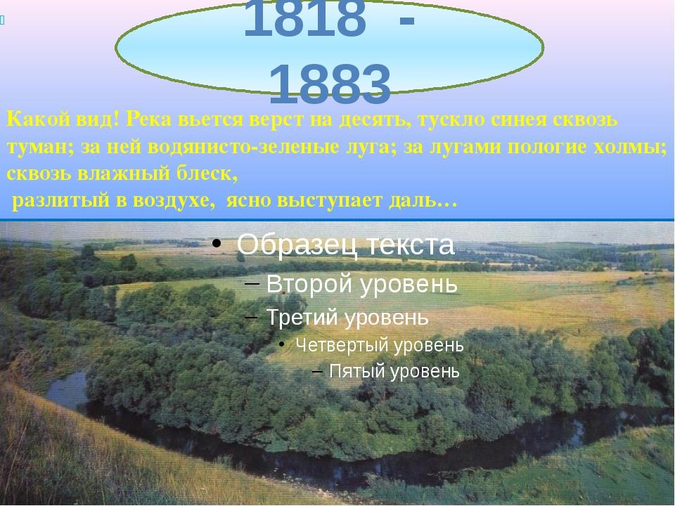 1818 - 1883 Какой вид! Река вьется верст на десять, тускло синея сквозь тума...