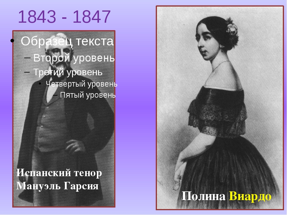 1843 - 1847 Испанский тенор Мануэль Гарсия Полина Виардо