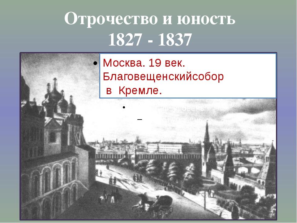 Отрочество и юность 1827 - 1837 Москва. 19 век. Благовещенскийсобор в Кремле.