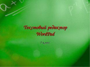 Текстовый редактор WordPad 5 класс 2008-2009 уч.год