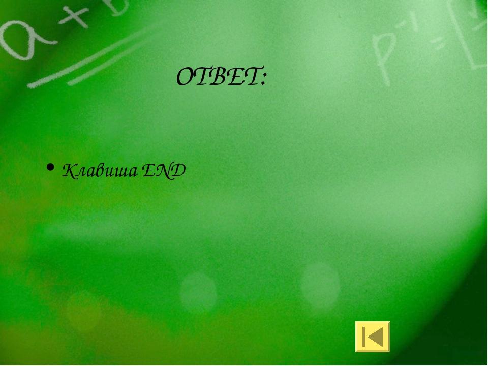 ОТВЕТ: Клавиша END