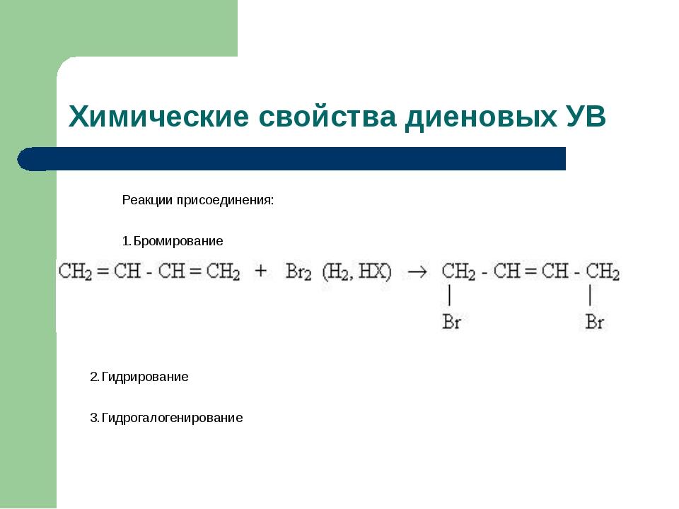 Химические свойства диеновых УВ Реакции присоединения: 1.Бромирование 2.Гидри...