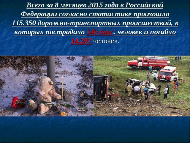 Всего за 8 месяцев 2015 года в Российской Федерации согласно статистике произ...
