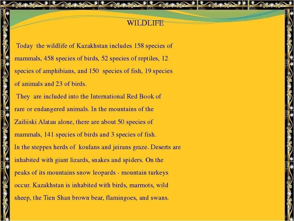 WILDLIFE Today the wildlife of Kazakhstan includes 158 species of mammals, 4...