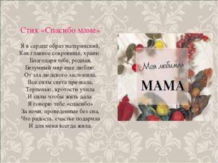 Стих «Спасибо маме» Я в сердце образ материнский, Как главное сокровище, хран