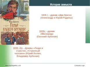 www.themegallery.com Company Logo История замысла 1830 -31г. -Драмы «Люди и с