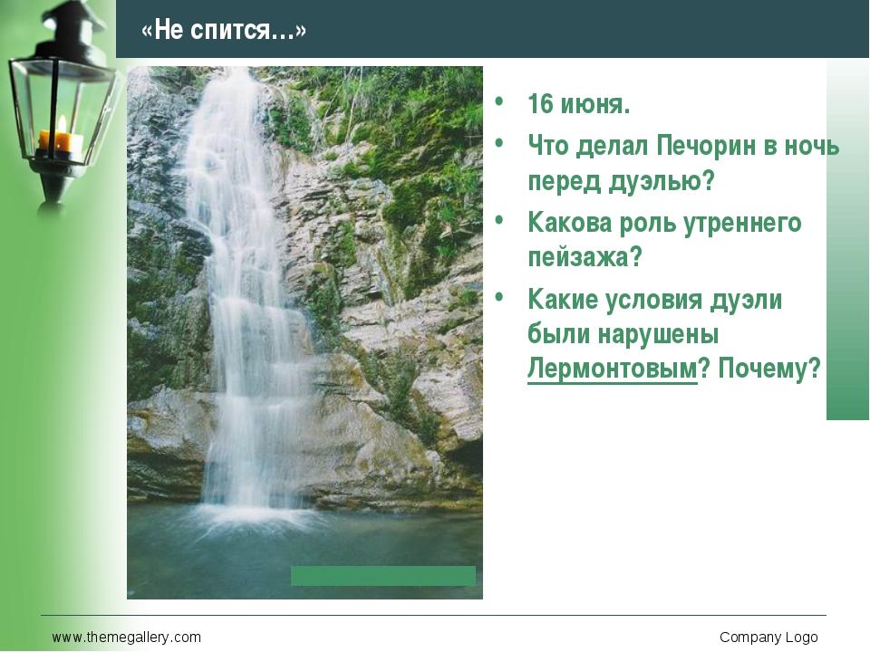 www.themegallery.com Company Logo «Не спится…» 16 июня. Что делал Печорин в н...