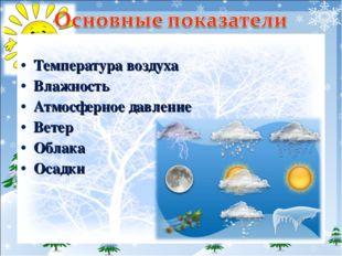 Температура воздуха Влажность Атмосферное давление Ветер Облака Осадки