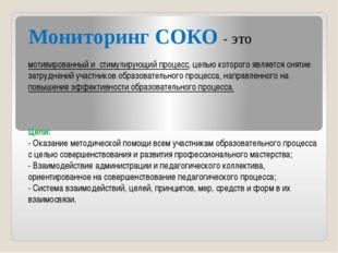 Мониторинг СОКО - это мотивированный и стимулирующий процесс, целью которого