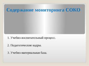 Содержание мониторинга СОКО 1. Учебно-воспитательный процесс. 2. Педагогическ