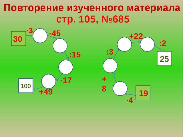 Повторение изученного материала стр. 105, №685 100 25 ∙3 -45 :15 ∙17 +49 ∙4 :...