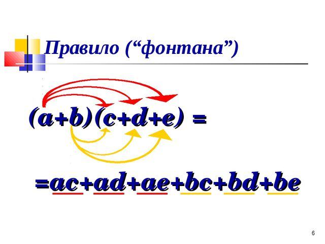 "* Правило (""фонтана"") (a+b)(c+d+e) = =ac+ad+ae+bc+bd+be"