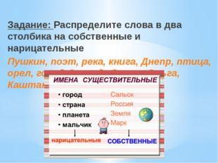 Задание: Распределите слова в два столбика на собственные и нарицательные Пуш