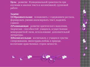 Цель: развитие Функциональной грамотности при изучении и анализе текста в кол