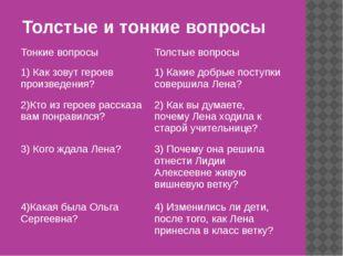 Толстые и тонкие вопросы Тонкие вопросы Толстые вопросы 1) Как зовут героев п