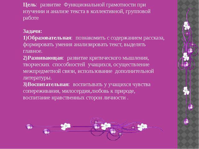 Цель: развитие Функциональной грамотности при изучении и анализе текста в кол...