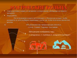 МАГИЧЕСКИЕ КОЛЬЦА Этап подготовки учащихся к активному и сознательному обобще