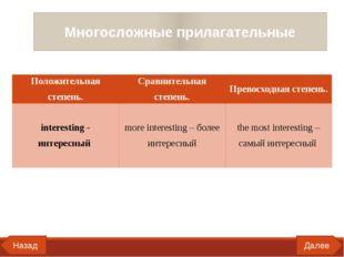Далее Назад Многосложные прилагательные Положительная степень. Сравнительная