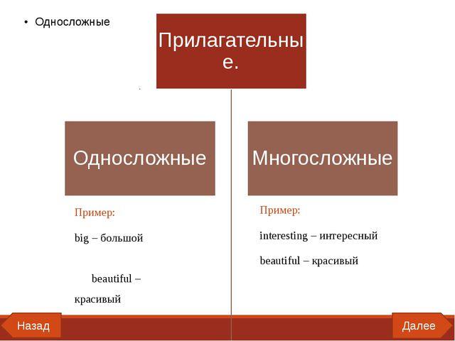 Далее Назад Пример: big – большой beautiful – красивый Пример: interesting –...
