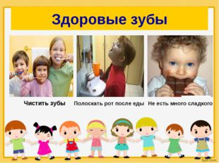 Здоровые зубы Чистить зубы Полоскать рот после еды Не есть много сладкого